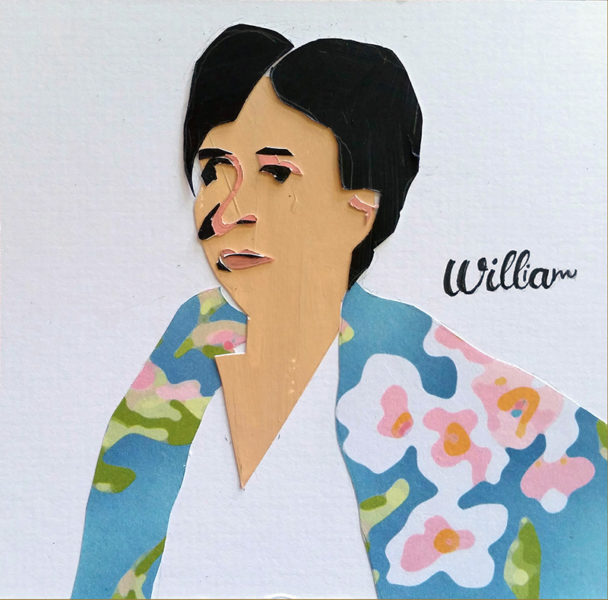"Cather, in flowered jacket, looks seriously into distance; the names ""William"" and ""Willa"" entwined over her shoulder."