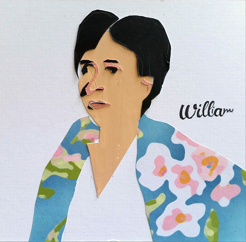 "Woman in flowered jacket looks seriously into distance; the names ""William"" and ""Willa"" entwined over her shoulder"