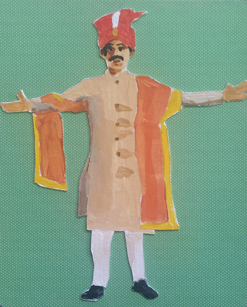 Indian man in royal tunic and hat throws arms wide open