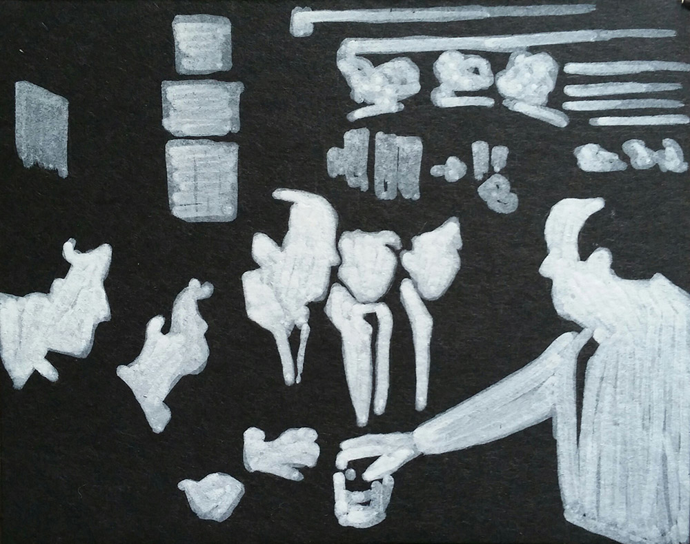 Minimal black-and-white drawing of men in suits being served by bartender