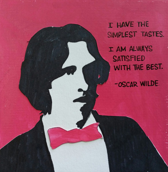 Stylized drawing of Wilde in tuxedo, with quote.