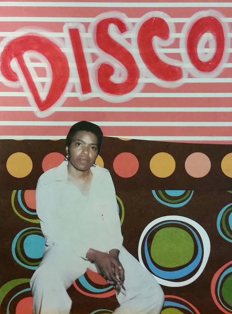 Seated Black woman in disco attire gazes at camera, with 70s patterns and text in background