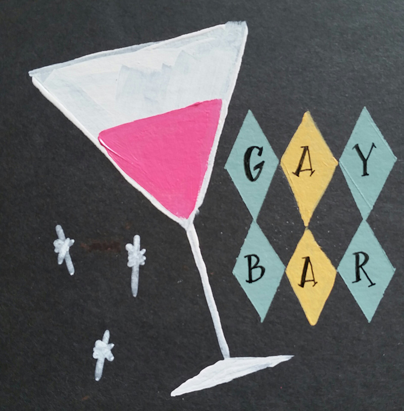 1950s-style illustration of pink martini
