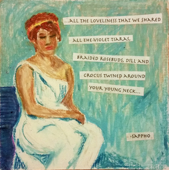 Seated Sappho in toga with poetry quote displayed.