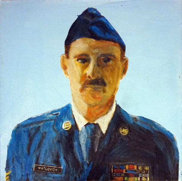 Confident Matlovich, in decorated military uniform and trim mustache, gazes at viewer.