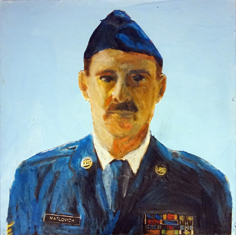 Confident man in decorated military uniform and mustache gazes at viewer