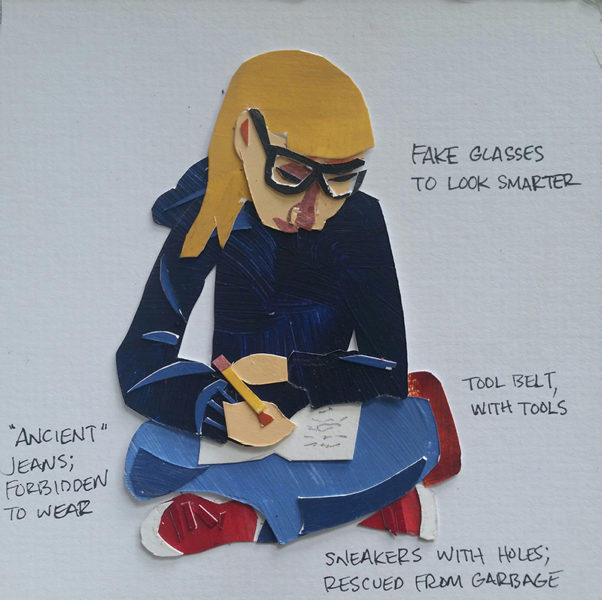 Girl sits cross-legged while wearing glasses and writing in notebook.
