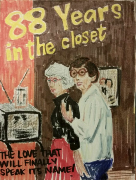 Two women embrace in 1950s-style living room, in style of pulp fiction book cover.