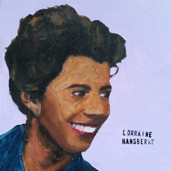 Close-up of Lorraine Hansberry smiling and looking playful.