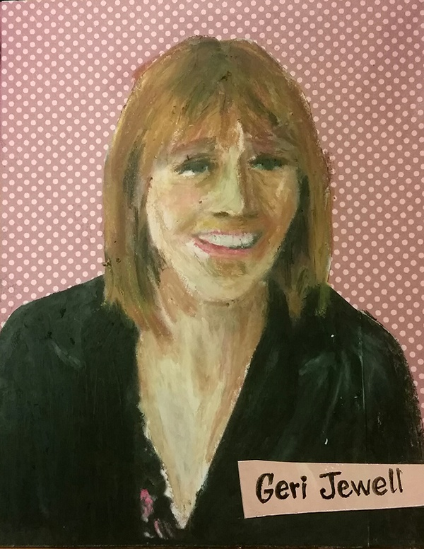Geri Jewell smiling, portrayed on polka-dotted background