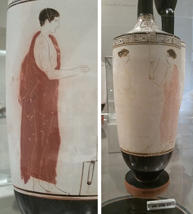 Ancient Greek vases decorated with silhouetted men and women in togas.