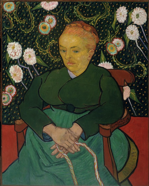 Expressive painting of watchful woman, seated in cozy, wallpapered interior, holding thin, braided rope