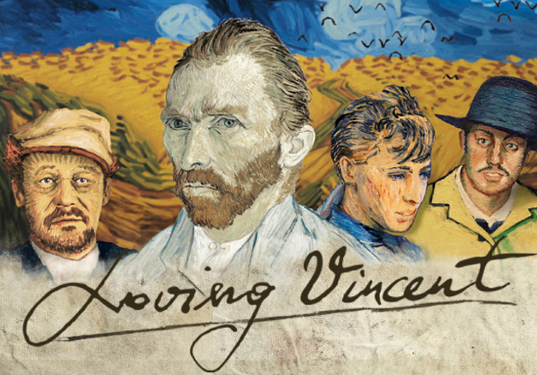 Title card for Loving Vincent movie, with Van Gogh portraits arranged on Van Gogh landscape of wheatfield