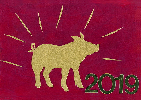 Silhouette of pig, energy waves emanating from it, and caption of 2019 in gold