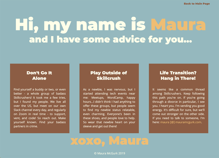 Friendly advice laid out in three columns, bookended by a greeting and closing from the web designer.