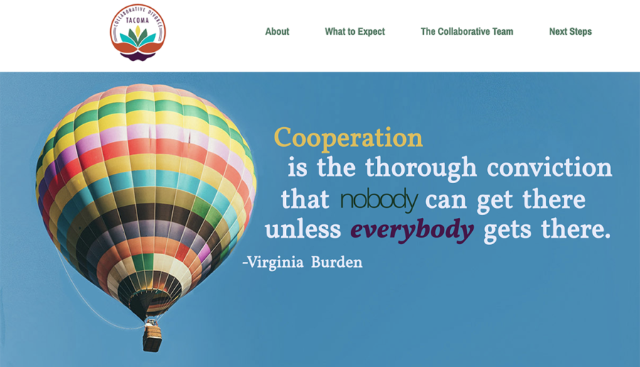 Hot air balloon in clear sky, with colorful logo and saying about cooperation..
