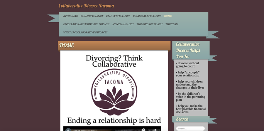 Old-fashioned homepage, with confusing nav bar, unattractive color palette, and little information presented upfront.