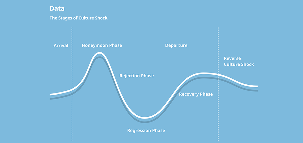 Diagram showing trajectory of culture shock within international students.