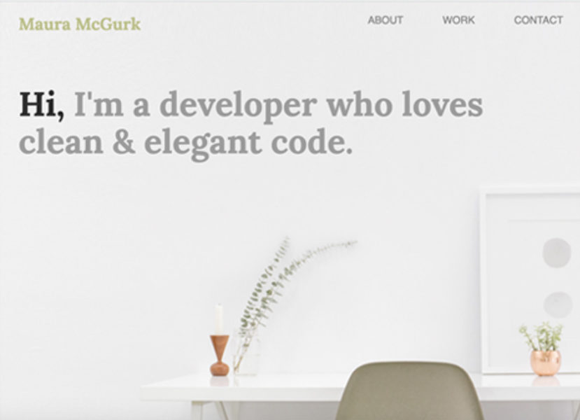 Homepage with clean, almost sterile look - empty desk and chair, plain background.