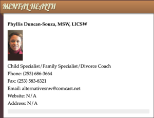 Screenshot of professional bio, with missing information and tiny photo.