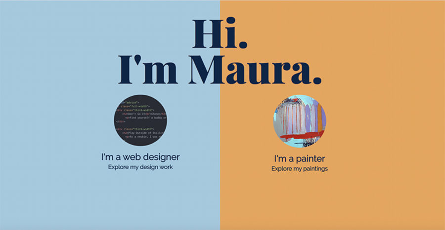 Split homepage, with a different color, image, and instruction on each half; a greeting from the web designer spans both sides.
