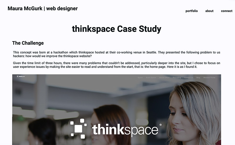 Excerpt, with text and photo, describing challenges in redesigning thinkspace website.