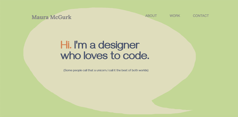 Homepage with thought-bubble introducing a web designer.