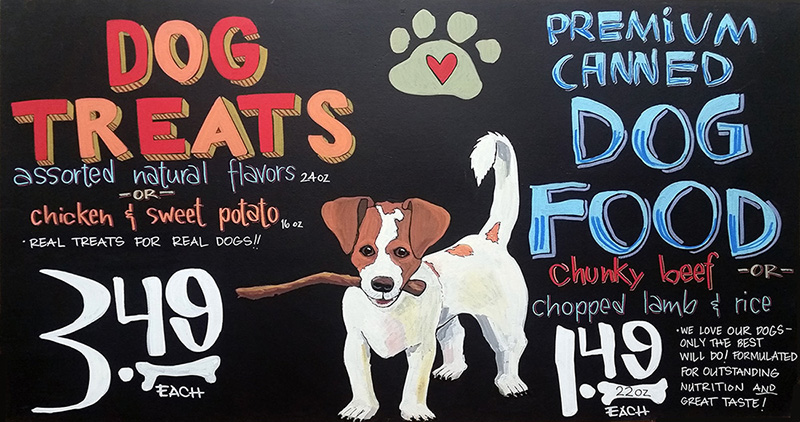 A hand-painted sign uses a charming illustration of a dog, and a fun typeface, to advertise dog treats.