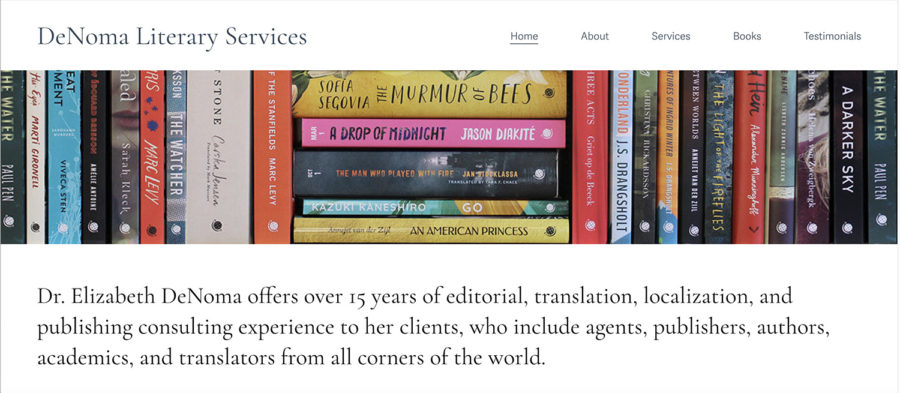 Screenshot of home page with DeNoma Literary Services heading and navigation, a hero image of colorful books of various sizes, and descriptive paragraph.