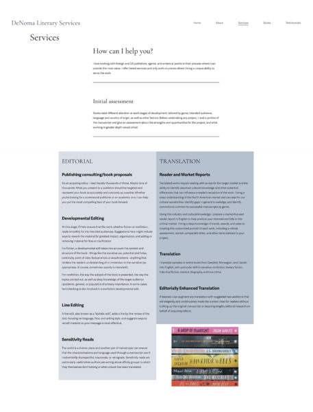 Services page outlines various editorial and translation services.