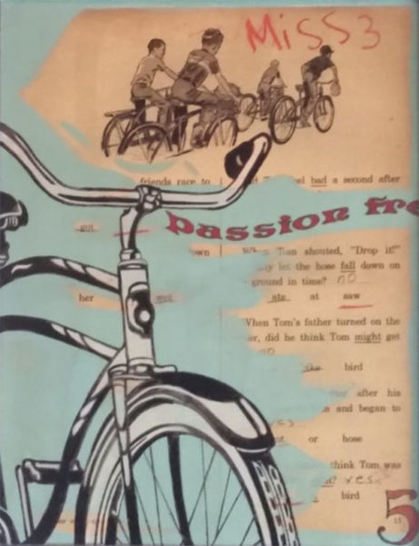 1950s style collage emphasizing boys, bikes, story text, and child's handwriting.
