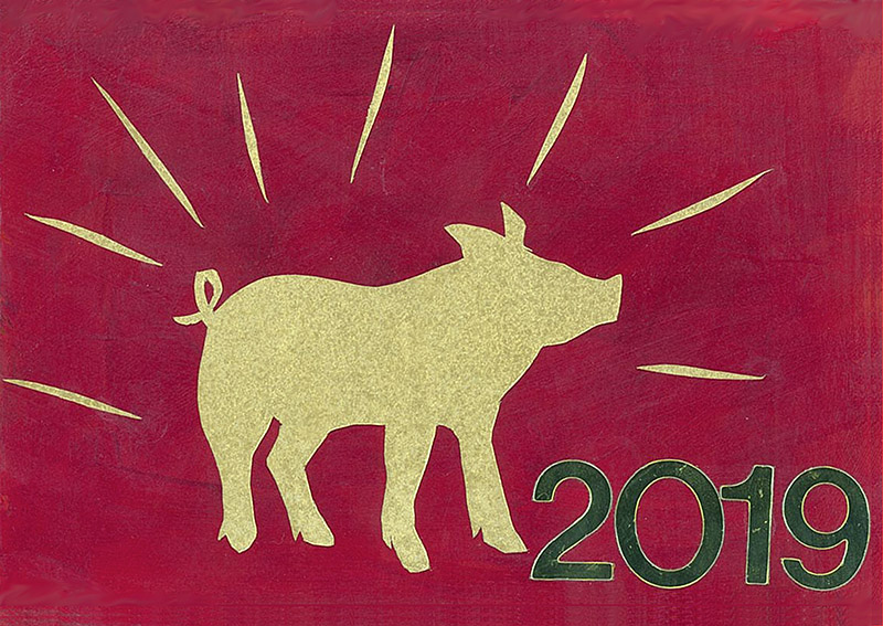 Exuberant postcard for Chinese New Year, featuring a gold pig radiating energy.