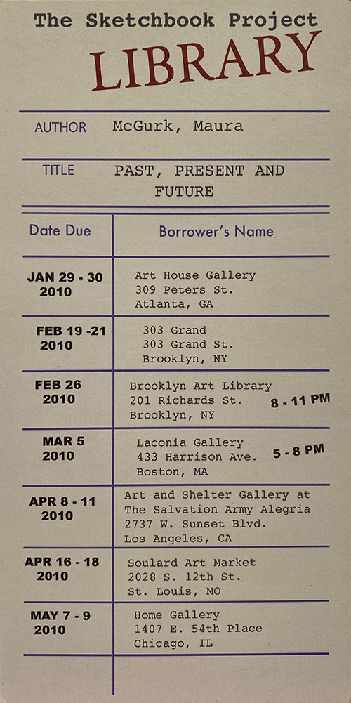 Exhibition invitation is designed to look like an old-fashioned library card.