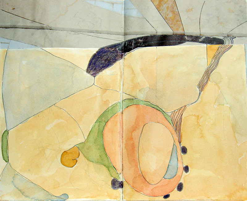 Cheerful, abstract watercolor of organic shapes and lines.